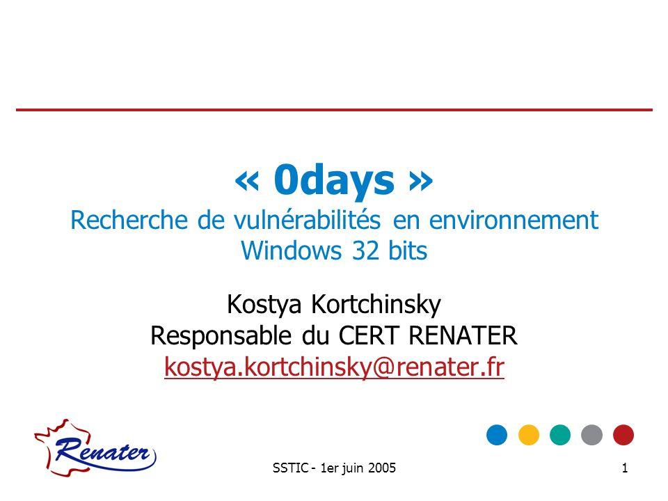 « 0days » Recherche de vulnérabilités en environnement Windows 32 bits