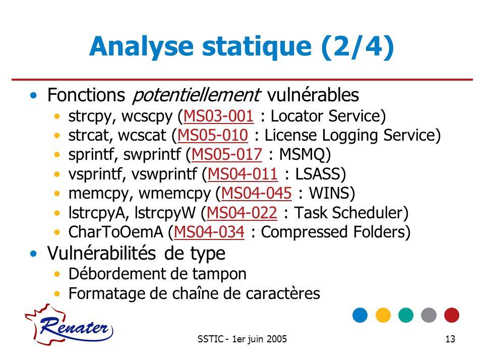 Analyse statique (2/4) Fonctions potentiellement vulnérables