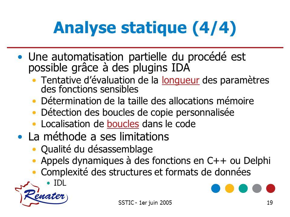 Analyse statique (4/4) Une automatisation partielle du procédé est possible grâce à des plugins IDA.