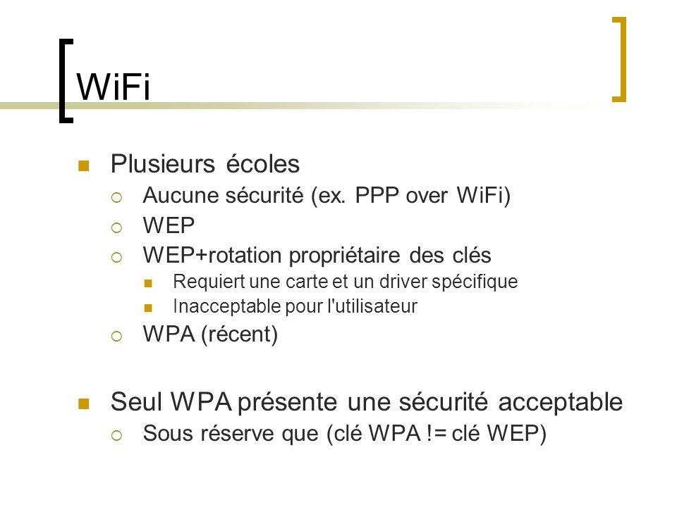 WiFi Plusieurs écoles Seul WPA présente une sécurité acceptable