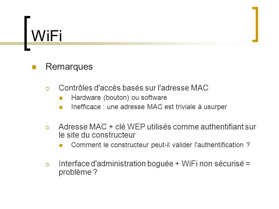 WiFi Remarques Contrôles d accès basés sur l adresse MAC