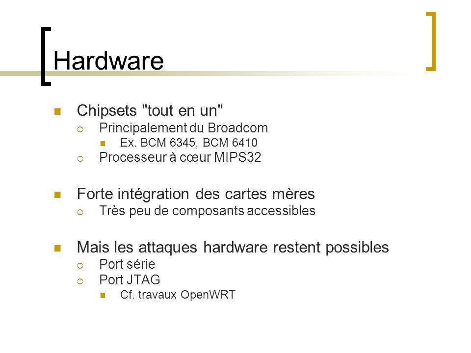 Hardware Chipsets tout en un Forte intégration des cartes mères