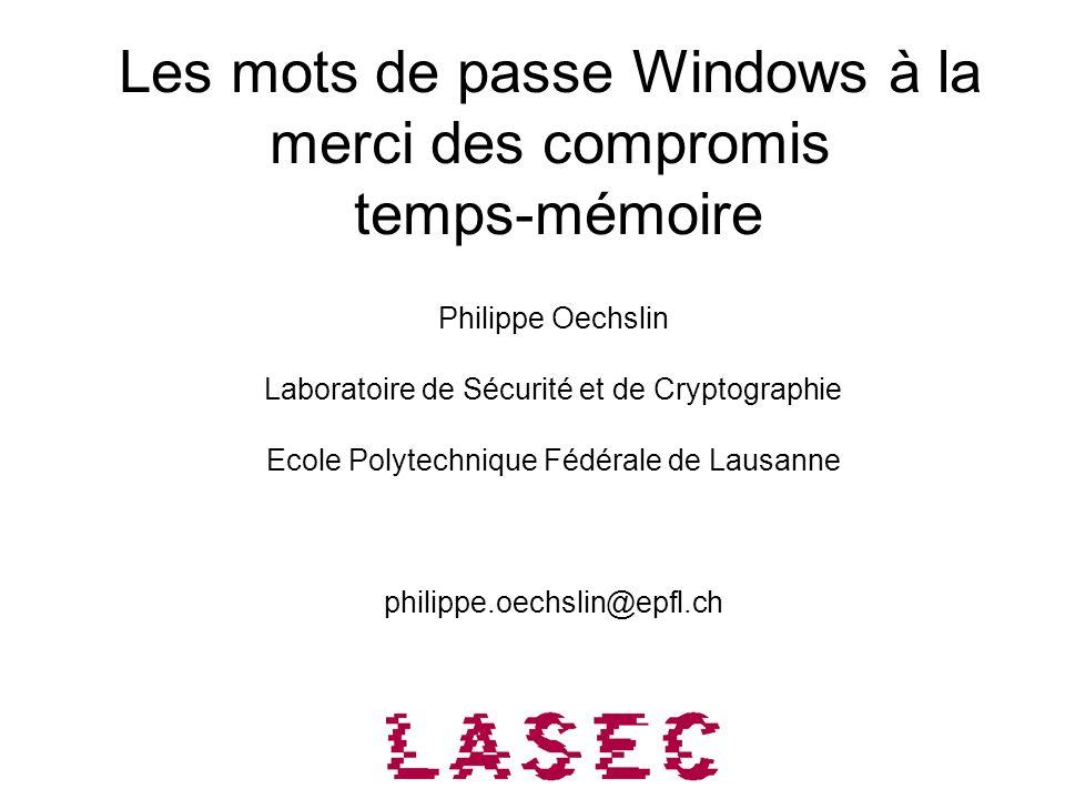 Les mots de passe Windows à la merci des compromis temps-mémoire