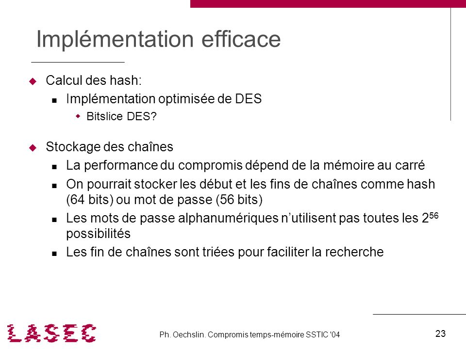 Implémentation efficace