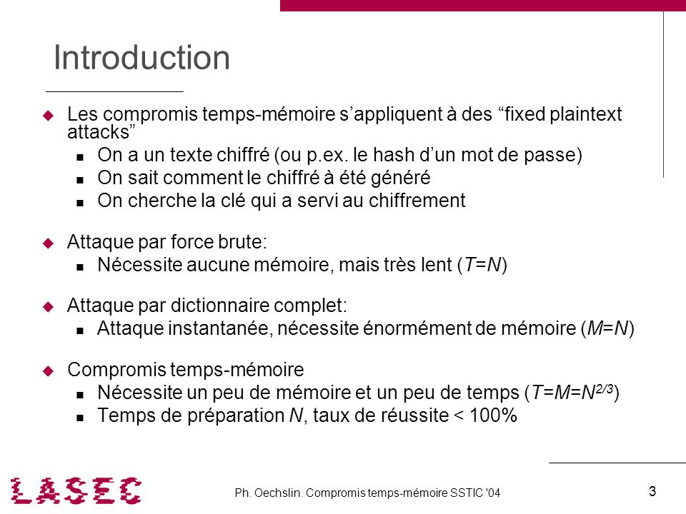 Ph. Oechslin. Compromis temps-mémoire SSTIC 04