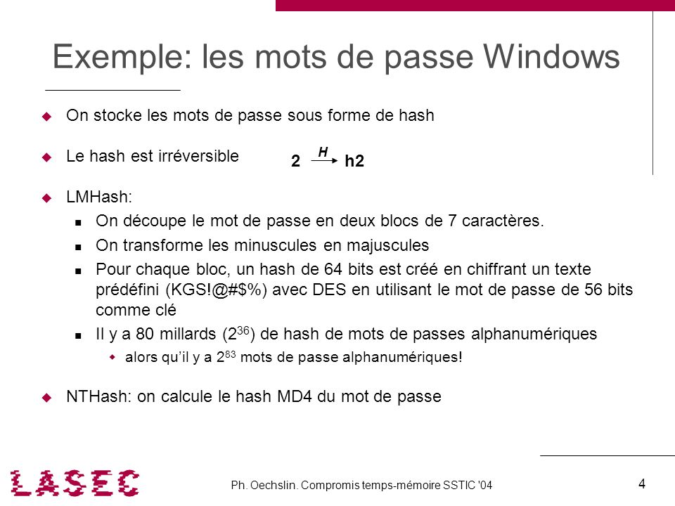 Exemple: les mots de passe Windows