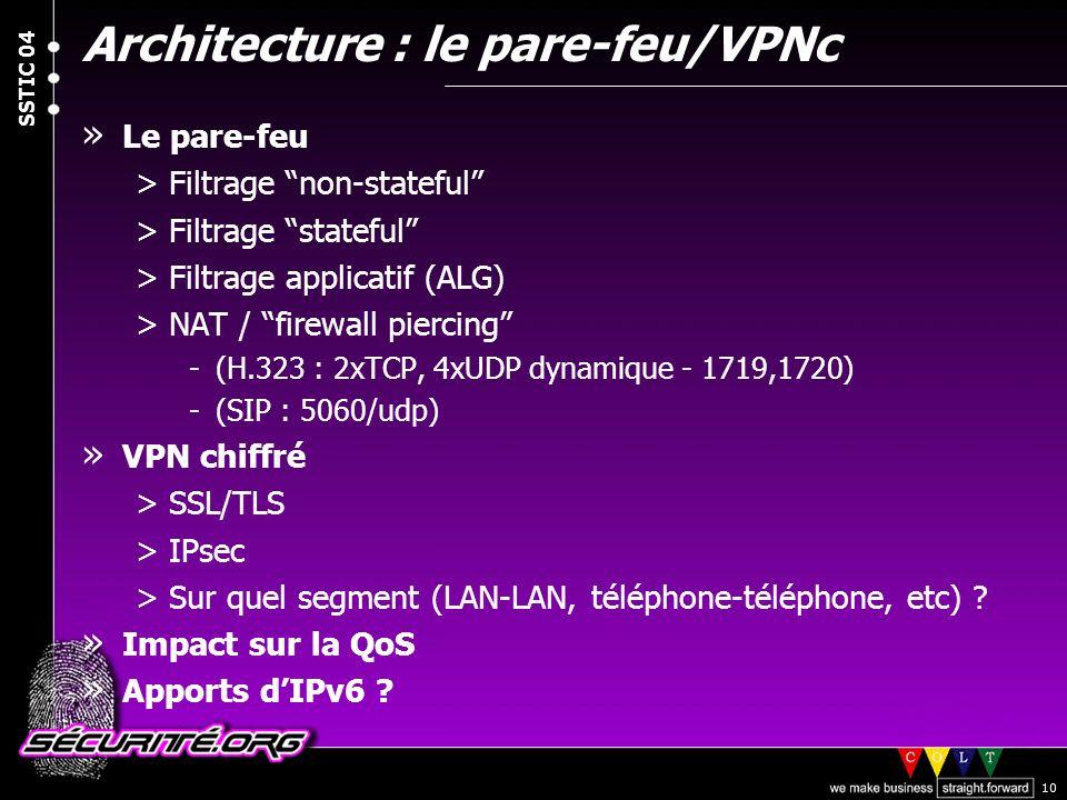 Architecture : le pare-feu/VPNc