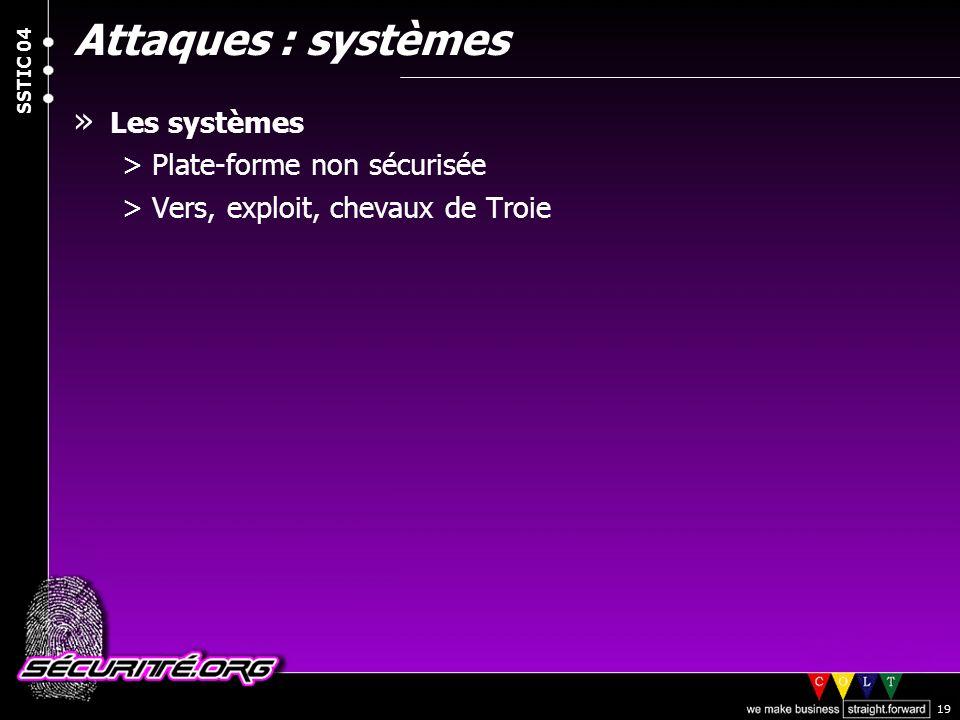 Attaques : systèmes Les systèmes Plate-forme non sécurisée