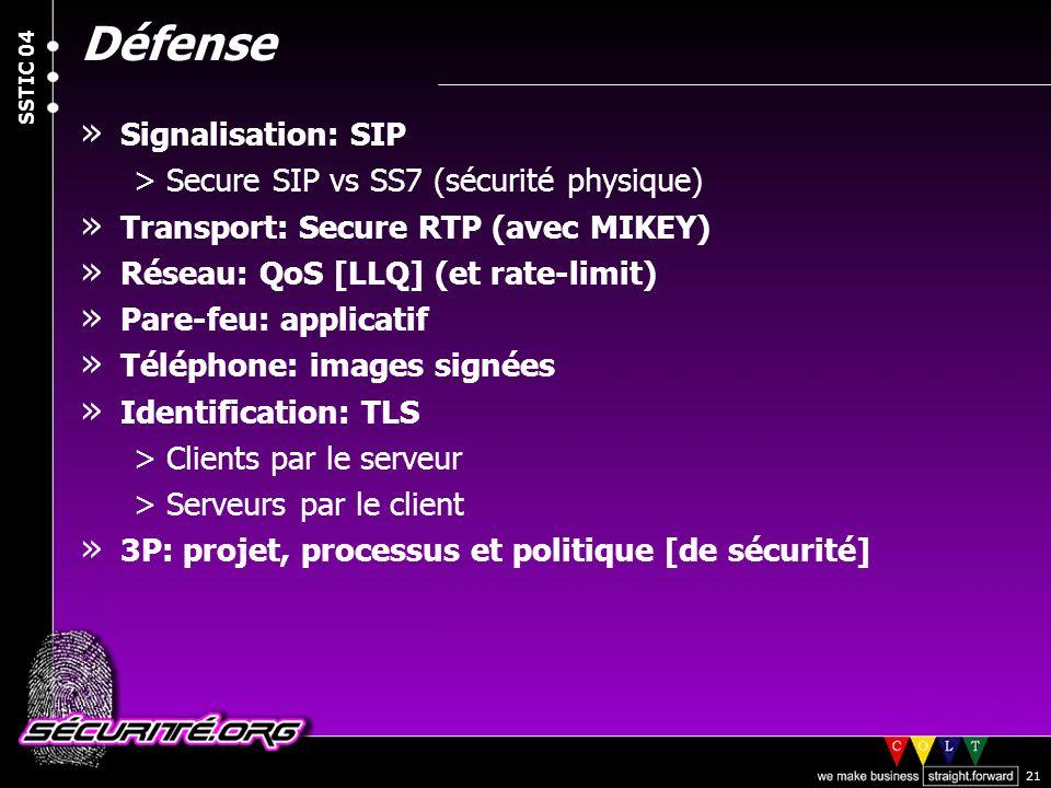 Défense Signalisation: SIP Secure SIP vs SS7 (sécurité physique)