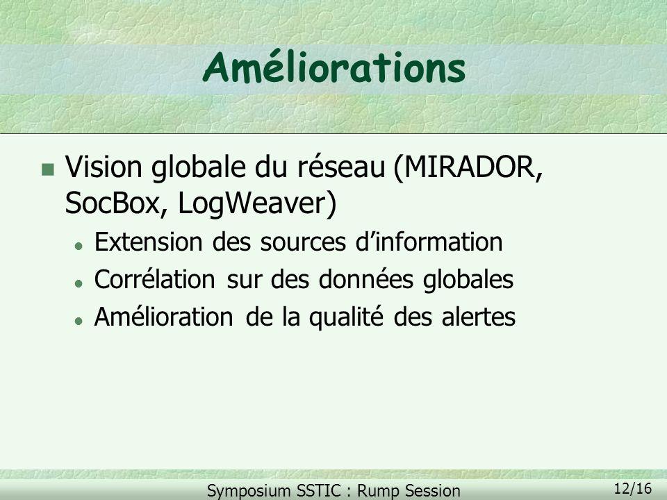 Améliorations Vision globale du réseau (MIRADOR, SocBox, LogWeaver)