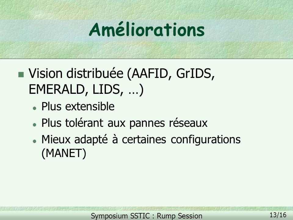 Améliorations Vision distribuée (AAFID, GrIDS, EMERALD, LIDS, …)