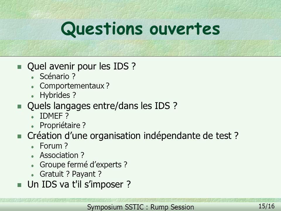 Questions ouvertes Quel avenir pour les IDS