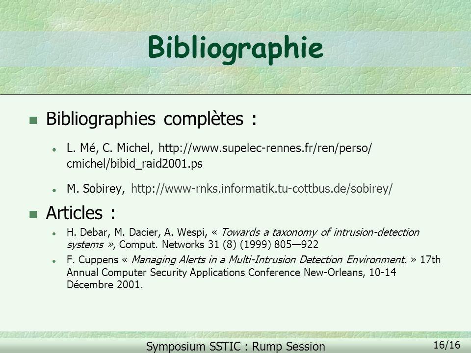 Bibliographie Bibliographies complètes : Articles :