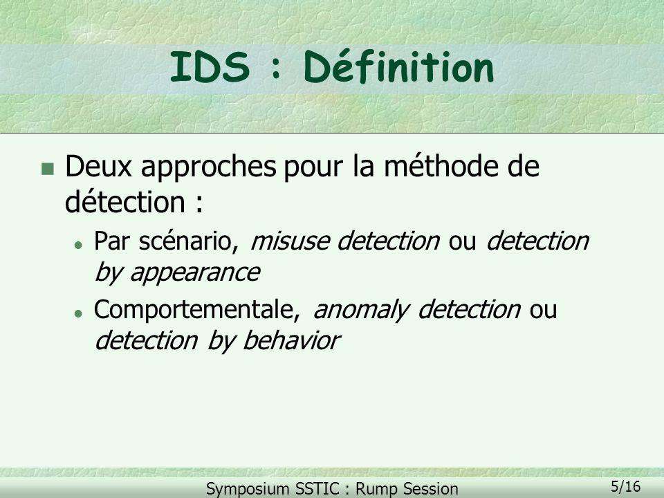 IDS : Définition Deux approches pour la méthode de détection :