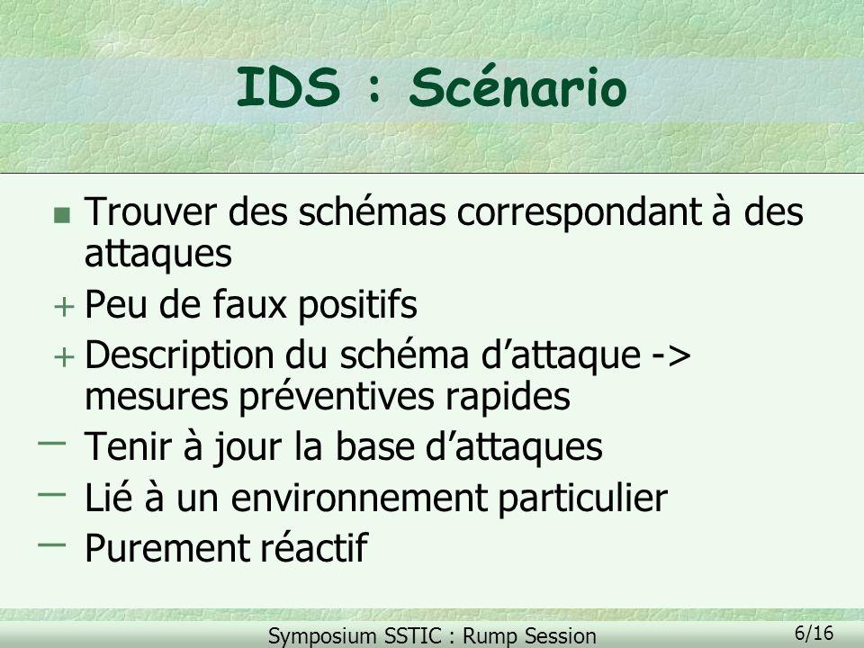 IDS : Scénario Trouver des schémas correspondant à des attaques