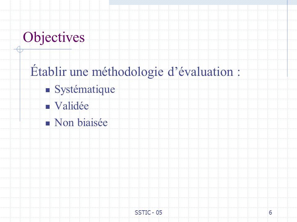 Objectives Établir une méthodologie d'évaluation : Systématique