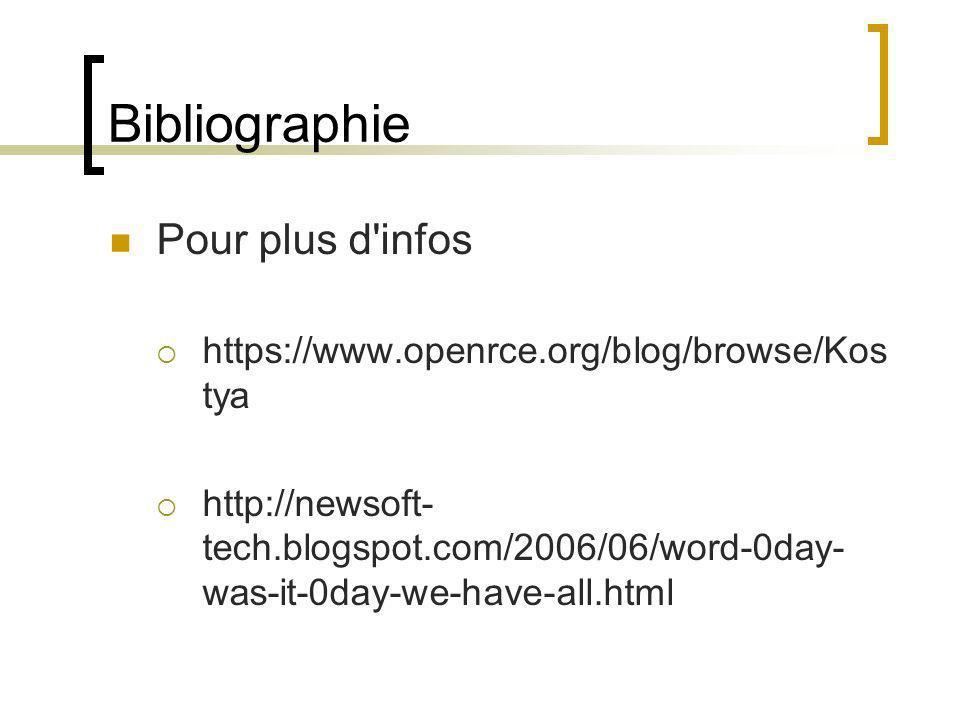 Bibliographie Pour plus d infos