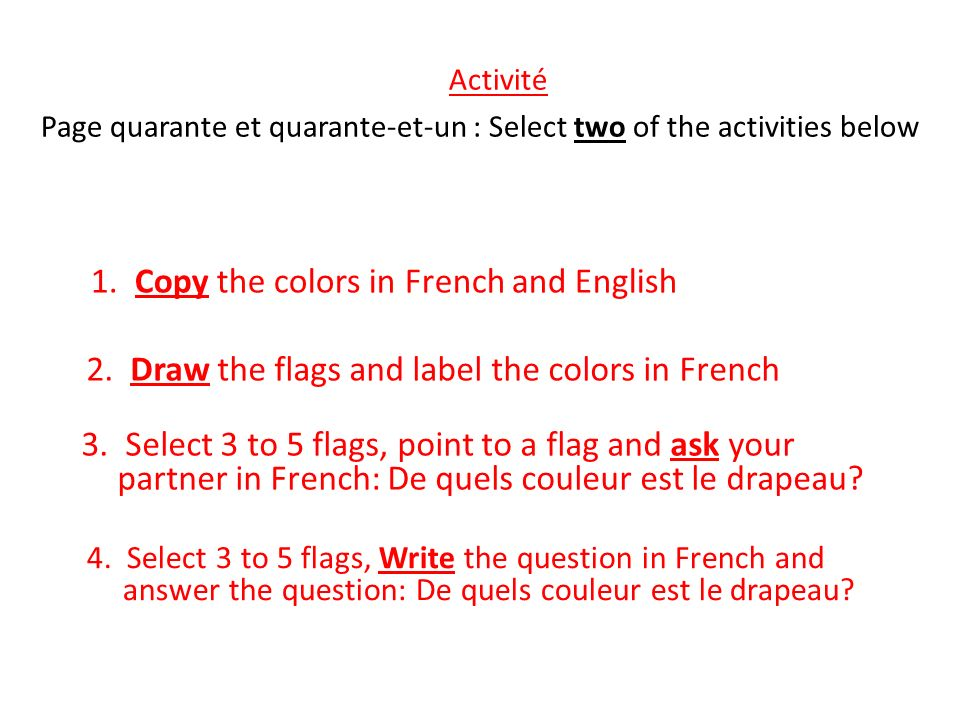 Activité 1. Copy the colors in French and English
