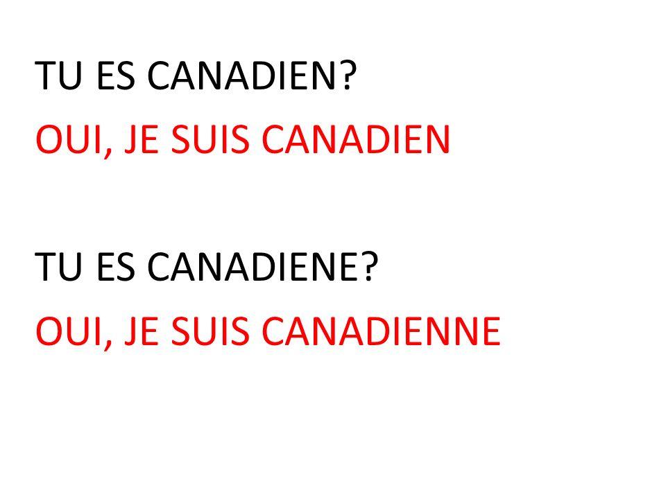 TU ES CANADIEN OUI, JE SUIS CANADIEN TU ES CANADIENE OUI, JE SUIS CANADIENNE