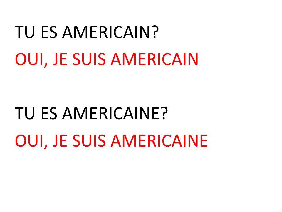 TU ES AMERICAIN OUI, JE SUIS AMERICAIN TU ES AMERICAINE OUI, JE SUIS AMERICAINE
