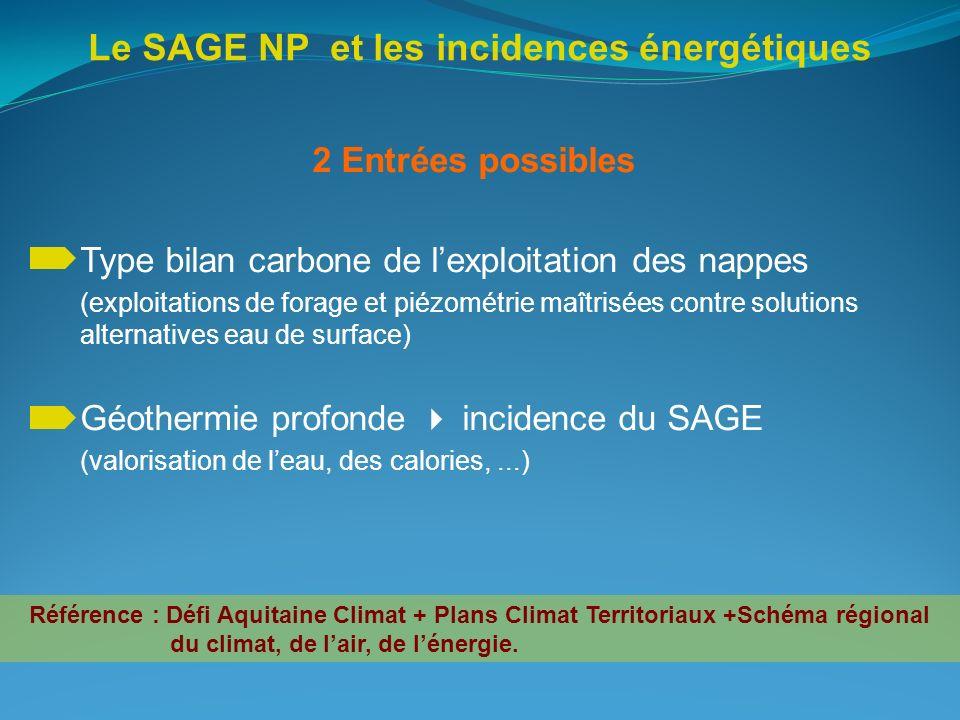Le SAGE NP et les incidences énergétiques