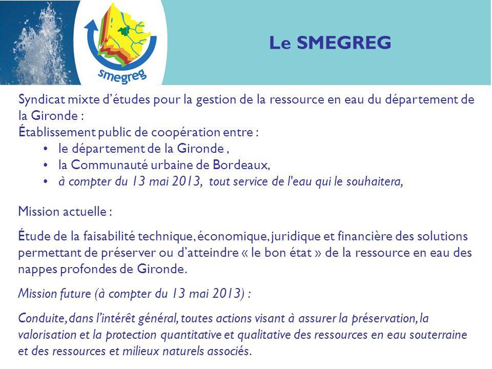 Le SMEGREG Syndicat mixte d'études pour la gestion de la ressource en eau du département de la Gironde :
