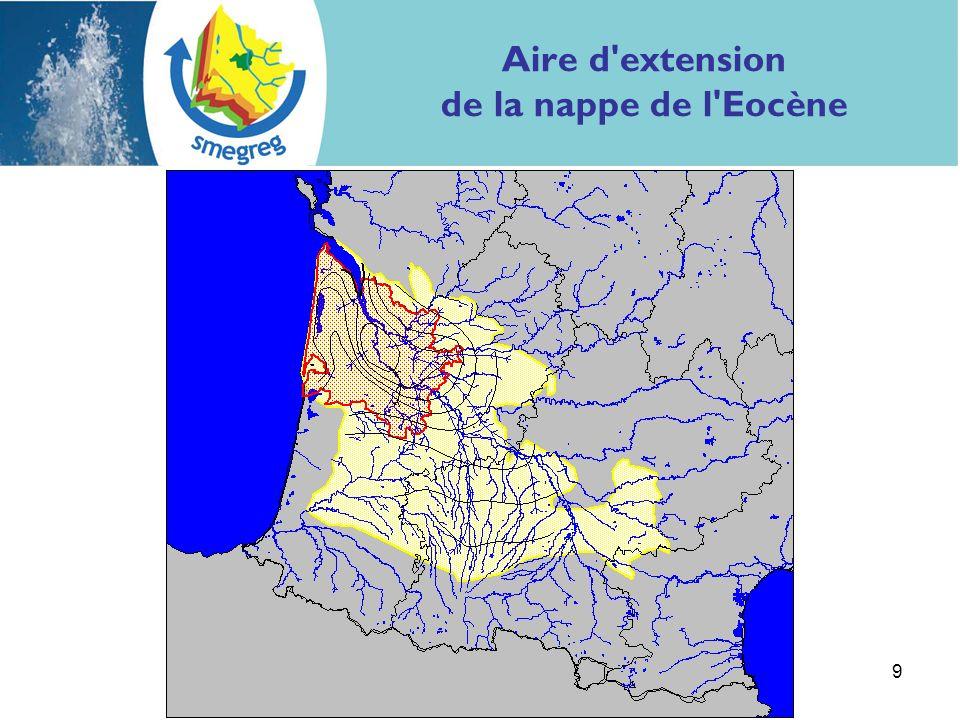 Aire d extension de la nappe de l Eocène