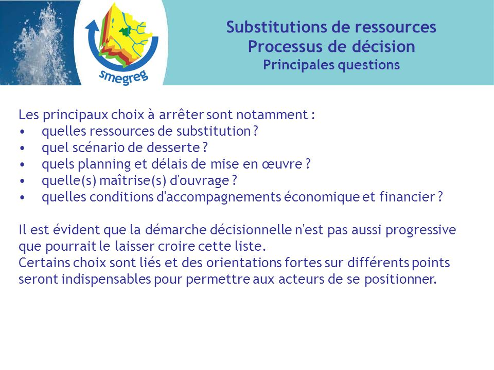 Substitutions de ressources Principales questions