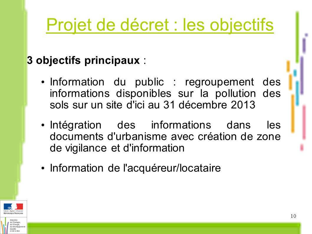 Projet de décret : les objectifs