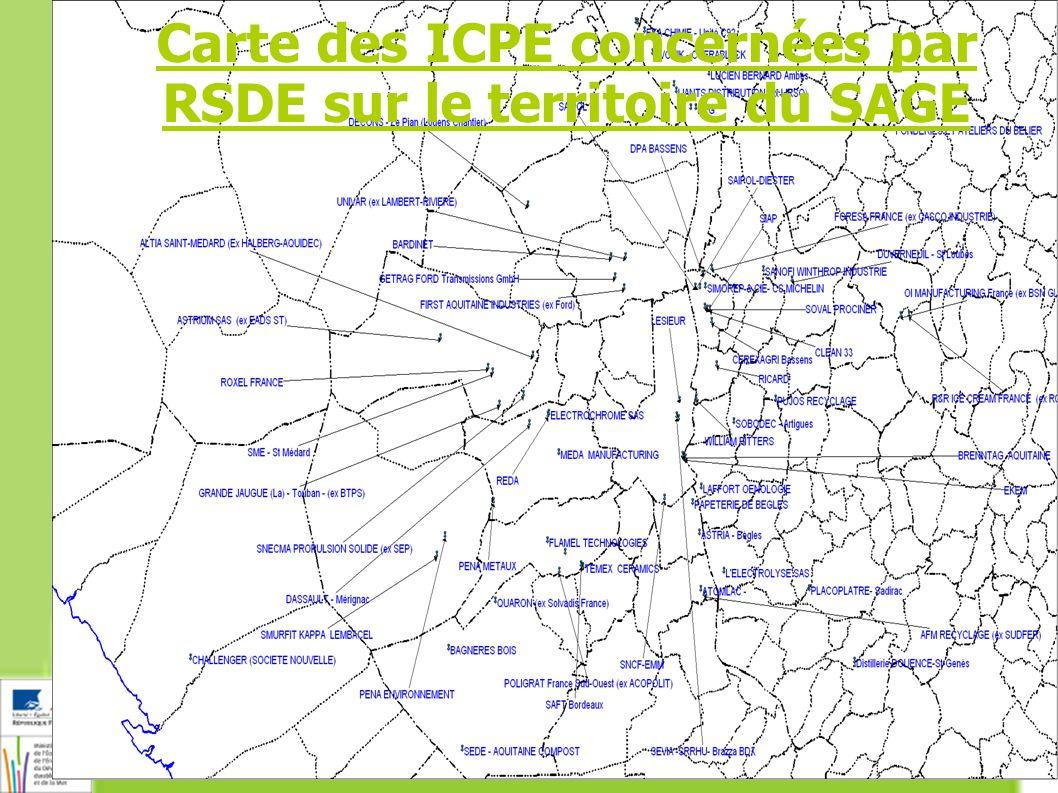 Carte des ICPE concernées par RSDE sur le territoire du SAGE