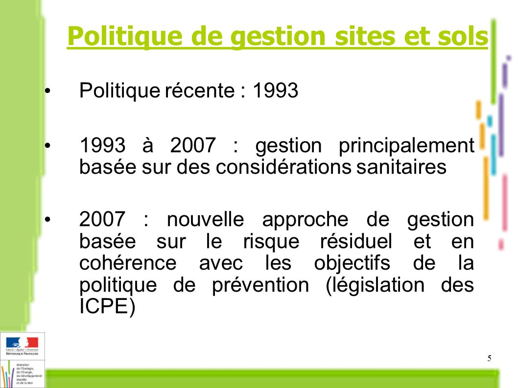 Politique de gestion sites et sols