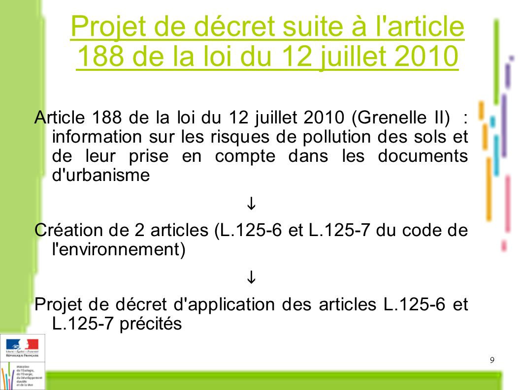 Projet de décret suite à l article 188 de la loi du 12 juillet 2010