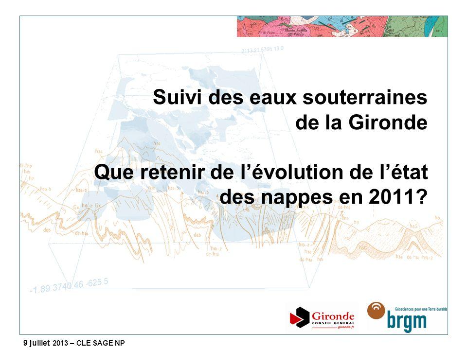 Suivi des eaux souterraines de la Gironde Que retenir de l'évolution de l'état des nappes en 2011