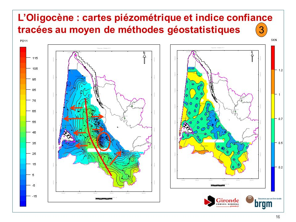 L'Oligocène : cartes piézométrique et indice confiance tracées au moyen de méthodes géostatistiques