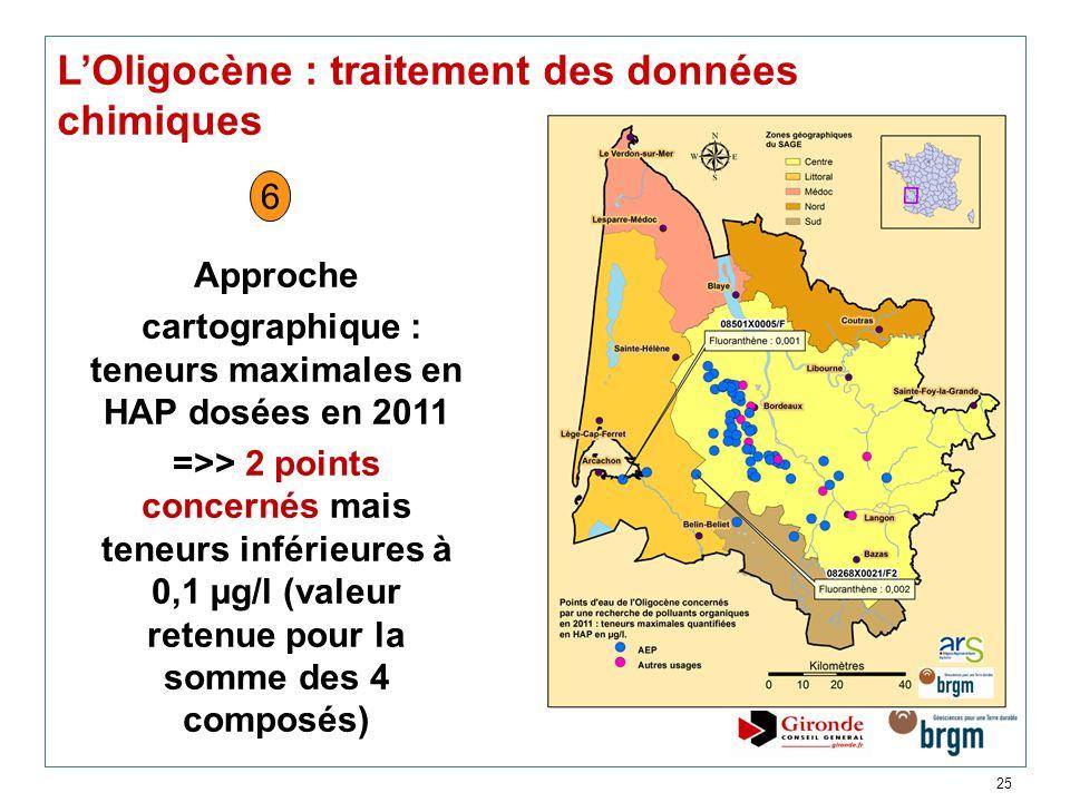 cartographique : teneurs maximales en HAP dosées en 2011