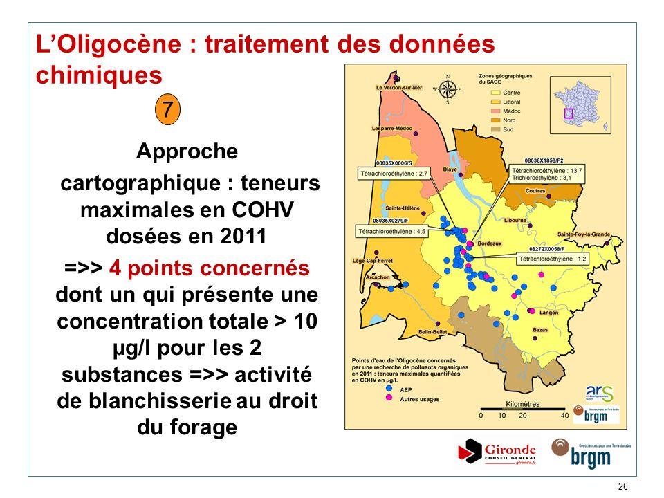 cartographique : teneurs maximales en COHV dosées en 2011