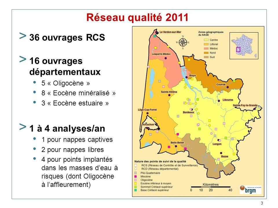 Réseau qualité 2011 36 ouvrages RCS 16 ouvrages départementaux