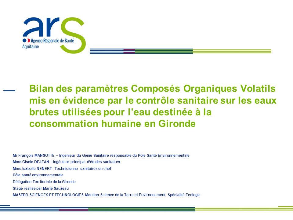 Bilan des paramètres Composés Organiques Volatils mis en évidence par le contrôle sanitaire sur les eaux brutes utilisées pour l'eau destinée à la consommation humaine en Gironde