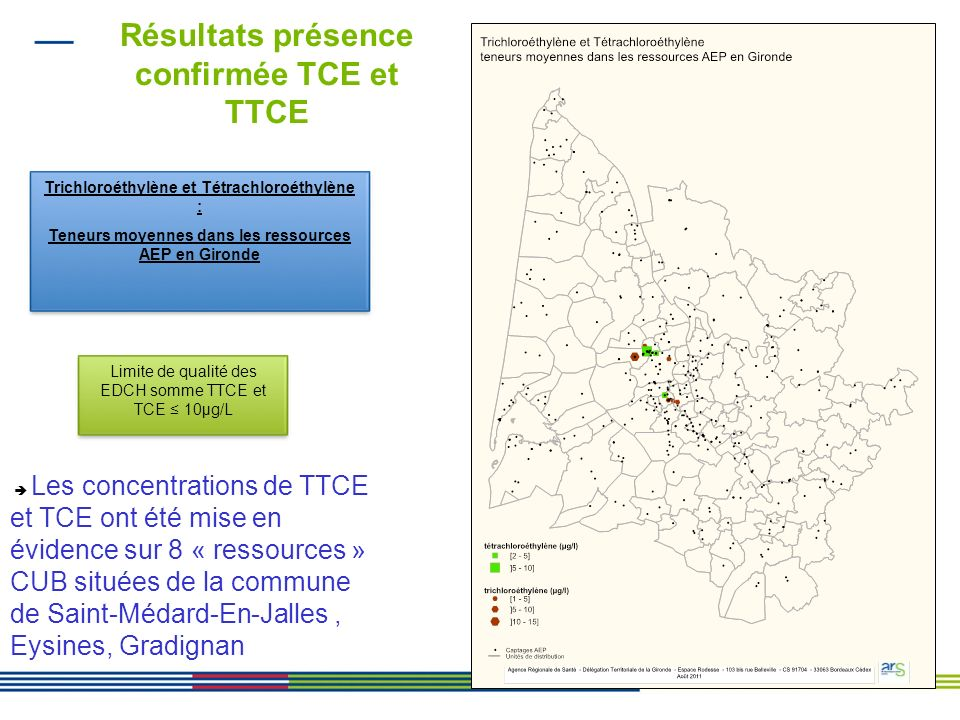 Résultats présence confirmée TCE et TTCE
