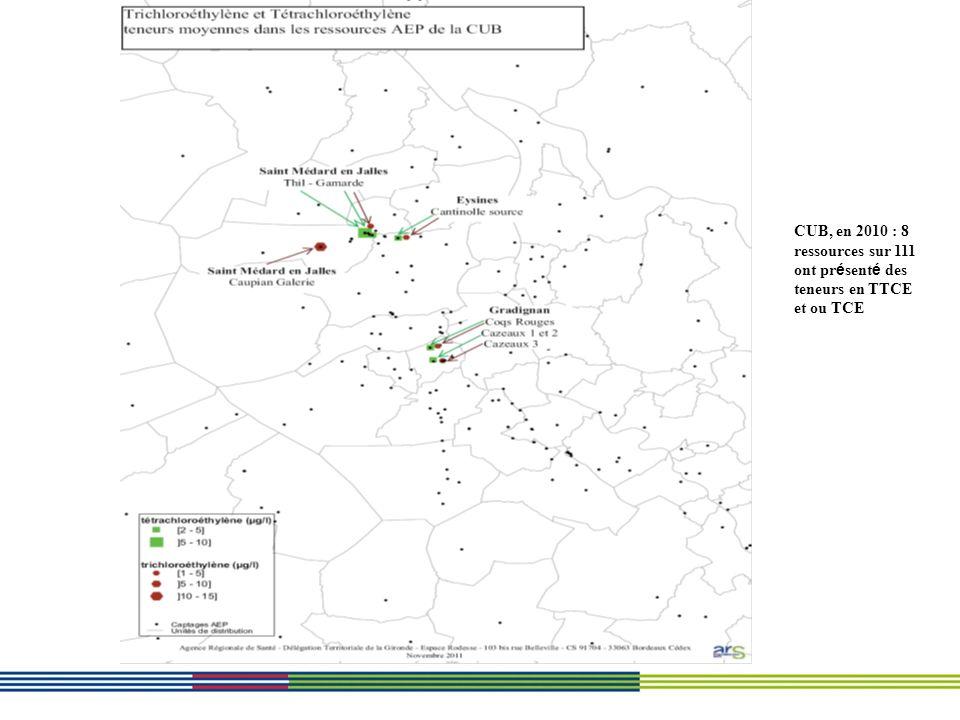 CUB, en 2010 : 8 ressources sur 111 ont présenté des teneurs en TTCE et ou TCE