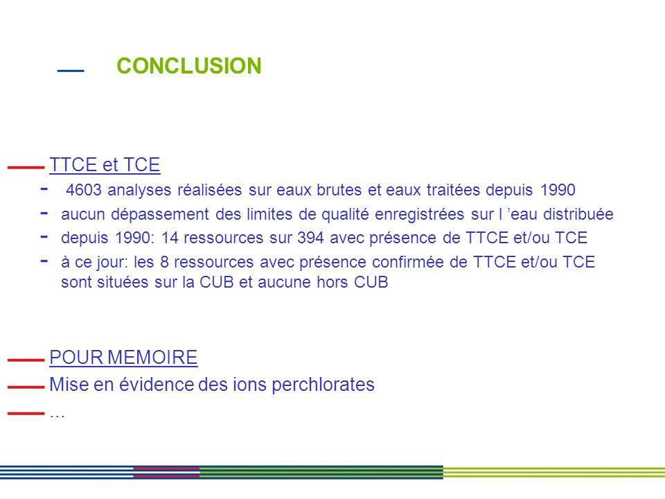 CONCLUSION TTCE et TCE POUR MEMOIRE