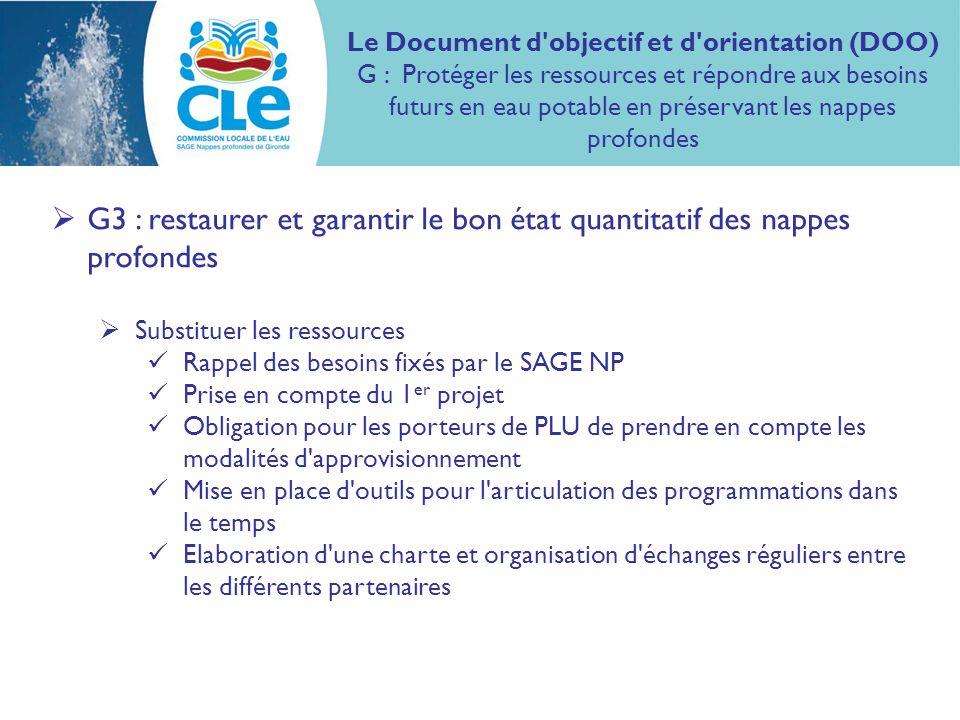 Le Document d objectif et d orientation (DOO) G : Protéger les ressources et répondre aux besoins futurs en eau potable en préservant les nappes profondes