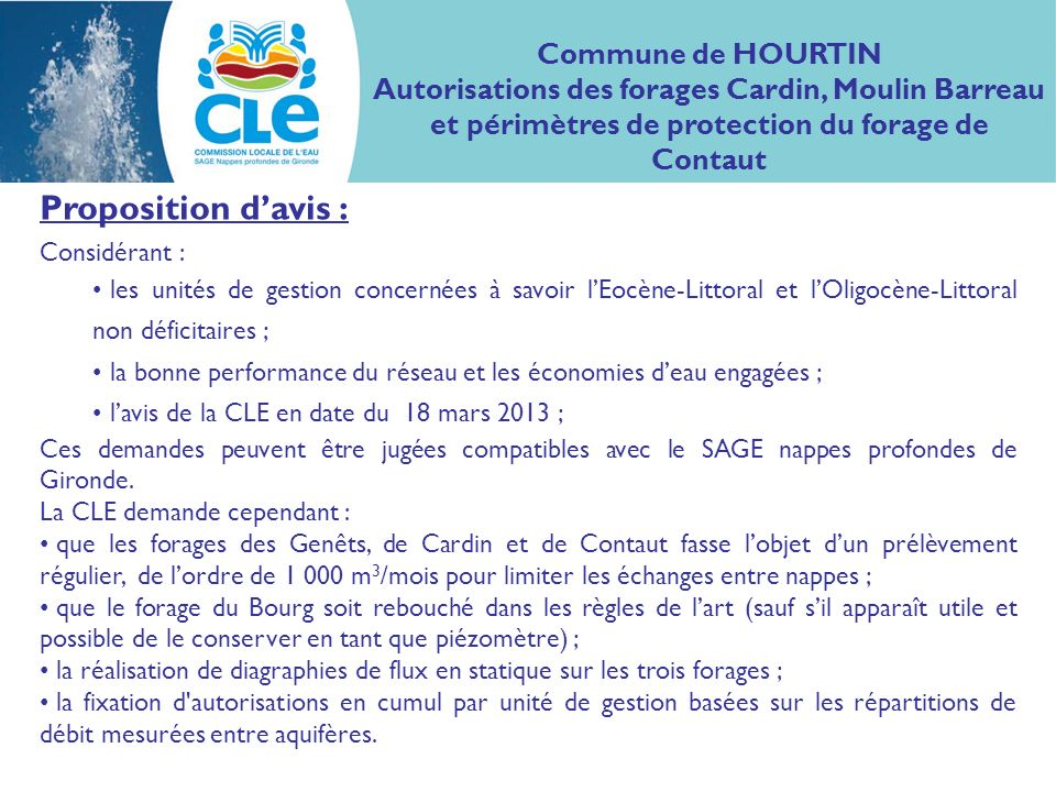 Proposition d'avis : Commune de HOURTIN