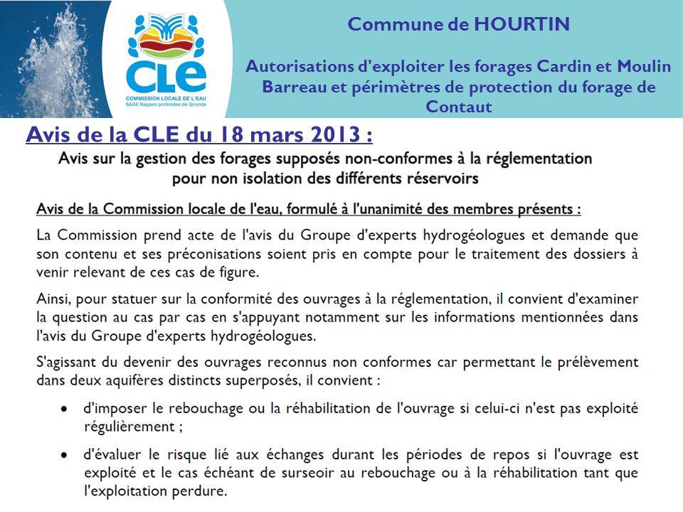 Avis de la CLE du 18 mars 2013 : Commune de HOURTIN