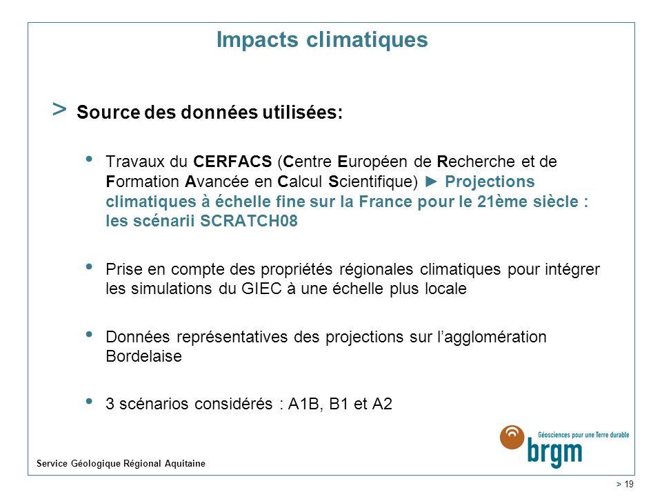 Impacts climatiques Source des données utilisées: