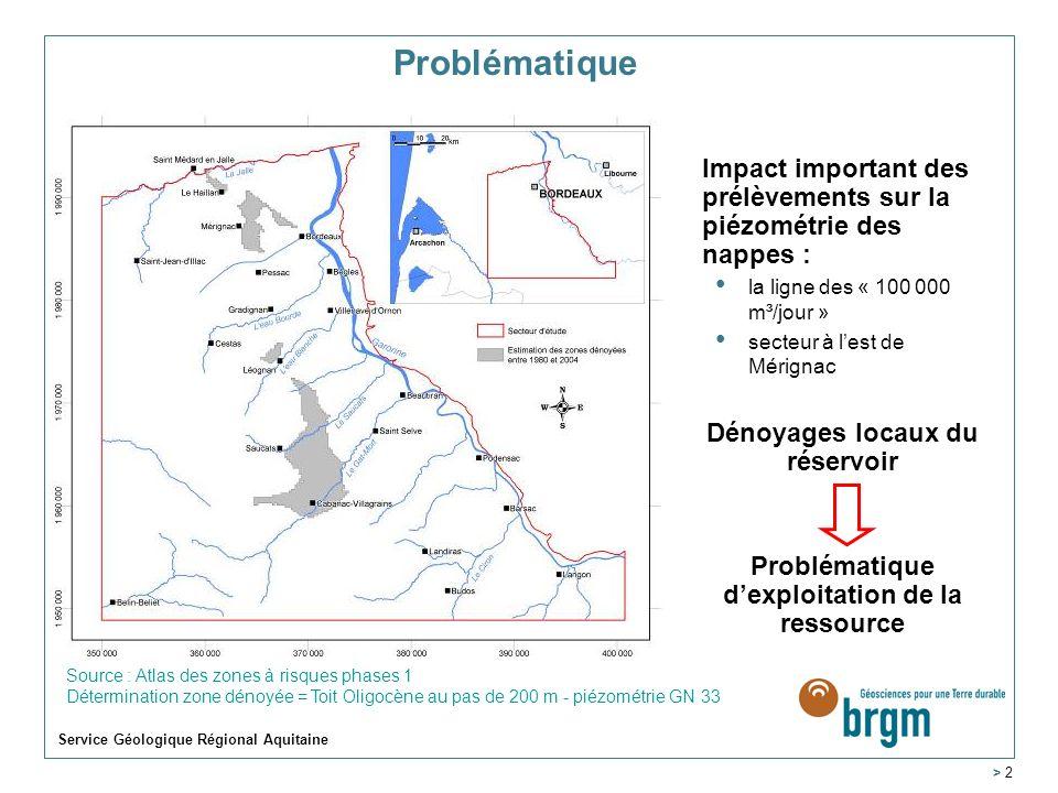 Problématique. Impact important des prélèvements sur la piézométrie des nappes : la ligne des « 100 000 m³/jour »