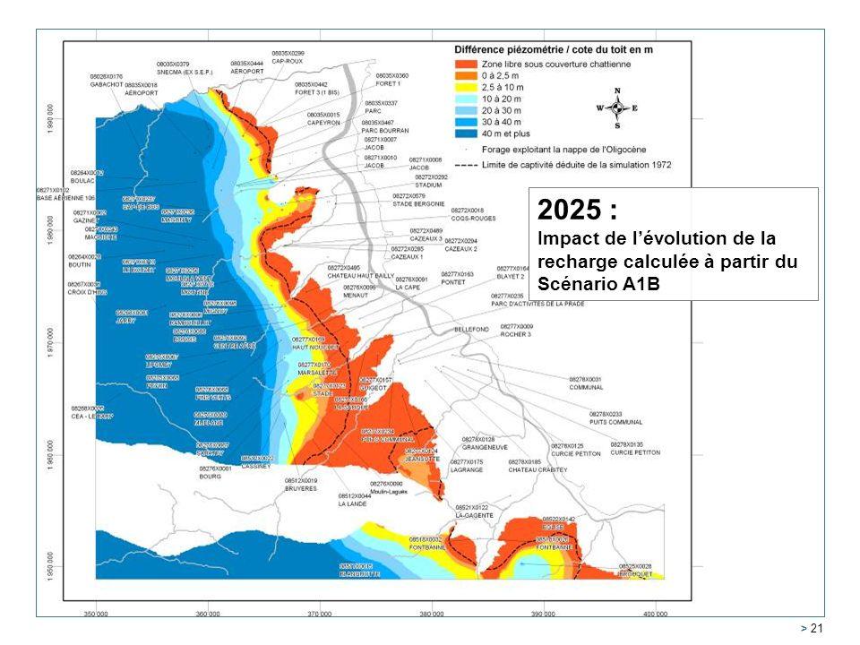 2025 : Impact de l'évolution de la recharge calculée à partir du Scénario A1B.
