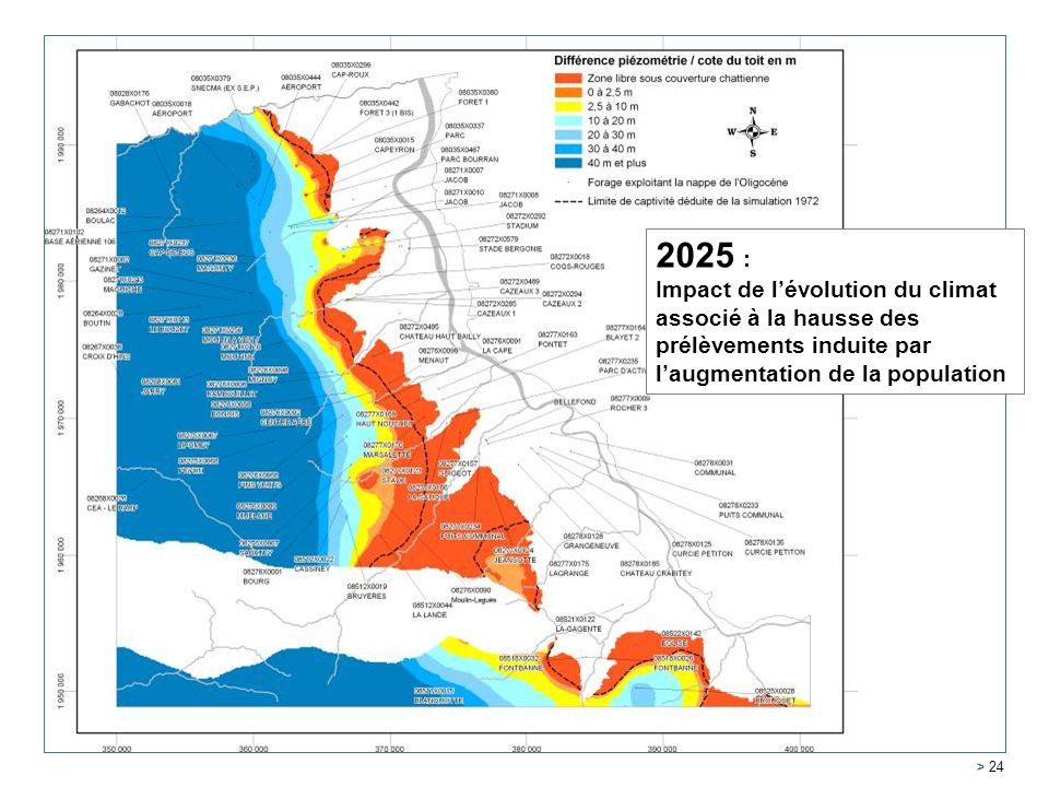 2025 : Impact de l'évolution du climat associé à la hausse des prélèvements induite par l'augmentation de la population.
