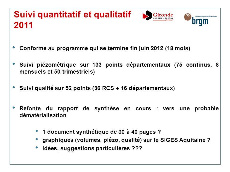 Suivi quantitatif et qualitatif 2011