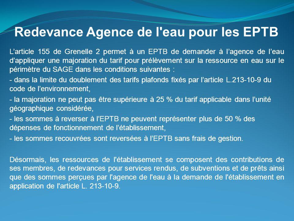 Redevance Agence de l eau pour les EPTB